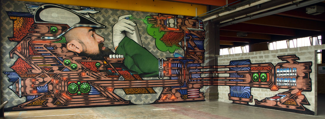 SCANR x JEAN ROOBLE - Spraypaint on wall - 5 x 15 m - for Vortex (Agora closing) - Bordeaux (2017)