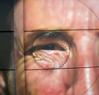 Yann (close-up) - JEAN ROOBLE - Spraypaint on wall (2 x 4 m) - Exhibition Le Grand 8 - Malakoff (2016)