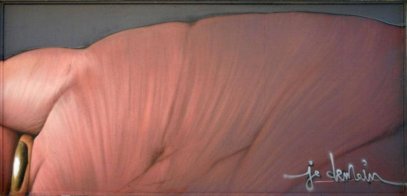 JE DEMAIN (detail) - Jean Rooble - Spraypaint on wall - 1,80 x 8 m - Le MUR de Biarritz (2019)