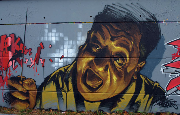 Azot's 25th birthday - JEAN ROOBLE - Spraypaint on wall (2.5 x 4 m) - Toulouse, 2010