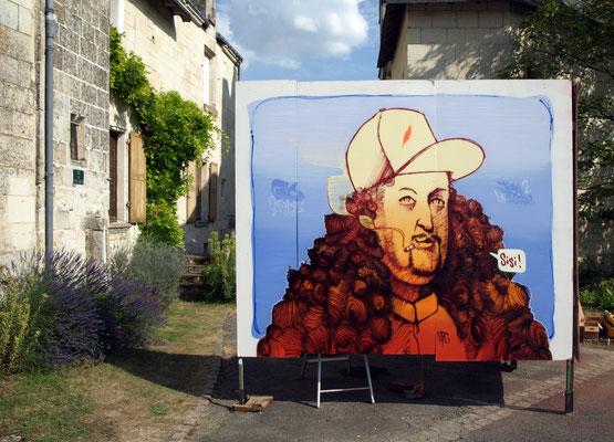 Sisi - JEAN DE LA ROOBLE - Spraypaint on wood (2,50 x 3 m) - Festival Graffeurs Au Château - Crissai-Sur-Manse, 2018