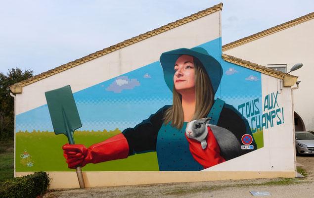 TOUS AUX CHAMPS! - Spraypaint and acrylic on wall - 7 x 12 m - Street'Art'Magnac Festival #6, Noulens (2020)