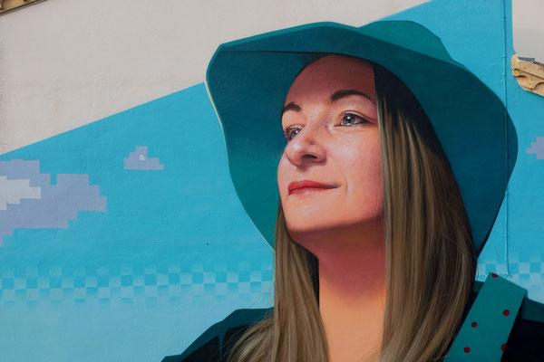 TOUS AUX CHAMPS! (detail) - Spraypaint and acrylic on wall - 7 x 12 m - Street'Art'Magnac Festival #6, Noulens (2020)