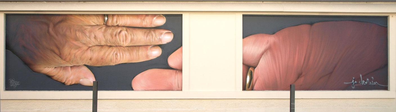 JE DEMAIN - Jean Rooble - Spraypaint on wall - 1,80 x 8 m - Le MUR de Biarritz (2019)