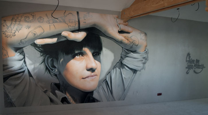 GOOD MORNING! - Jean Rooble - Spraypaint on wall - 2,50 x 6 m - Gîtes de Larros, Gujan-Mestras (2020)