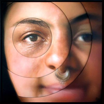 GLEO - Jean Rooble - Spraypaint on wood - 100 x 100 cm (2016)