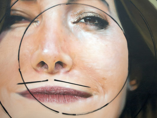 Diana Rozza Bonheur  (close up)- JEAN ROOBLE - Spraypaint on wall (5 x 5 m) - Hors Les Murs Project - Ambarès-Et-Lagrave (2016)
