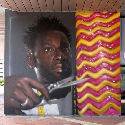 TISSU-PAILLETTE - Jean Rooble - Spraypaint on wall - 5 x 5 m - Conseil Départemental de la Gironde, Bordeaux (2019)