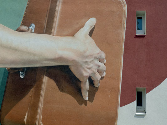 LE CUIR USE D'UNE VALISE (detail) - Jean Rooble - Spraypaint and acrylic on wall - 12 x 9 m - Festival MX29 - Morlaix (2020)