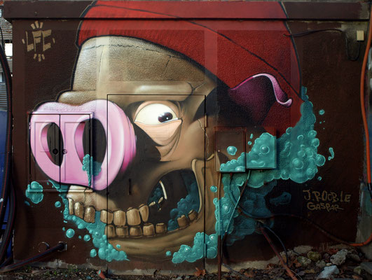 Bernadeath - JEAN ROOBLE & GASPAR - Spraypaint on wall (3 x 4 m) - Bordeaux, 2014
