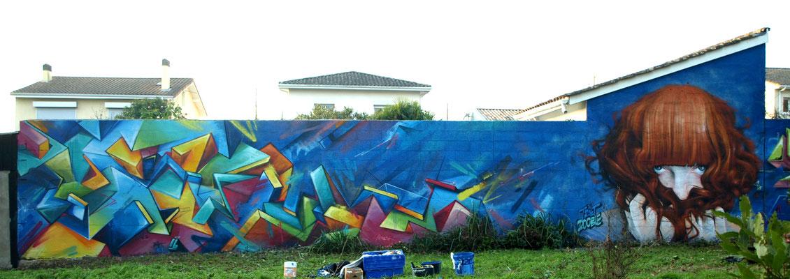 TRAKT & JEAN ROOBLE - Spraypaint on wall (3 x 15 m) - Talence (2016)