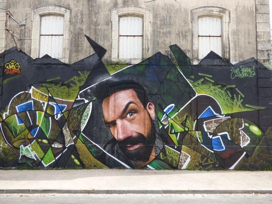 ODEG & JEAN ROOBLE - Spraypaint on wall (4 x 12 m) - Springtime Delights Festival - La Rochelle (2016)