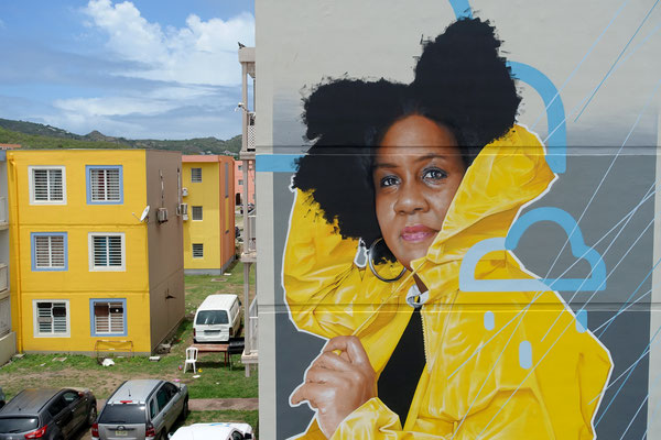 GRAND ECART (detail) - Acrylic and spraypaint on wall - 11 x 7 m - Saint-Martin (2021)