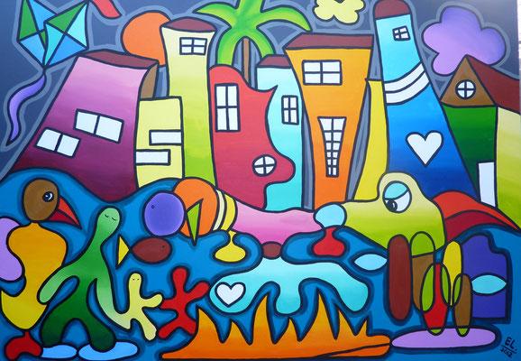 Respecting Each others Worlds - 100x140 - acryl op doek VERKOCHT