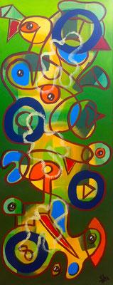 Springtime - 40x100 - acryl op doek