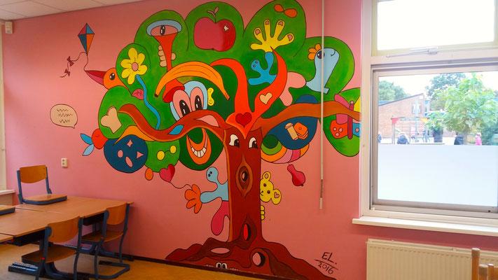 Muurschildering in opdracht van Basisschool De Windhoek te Egmond Binnen