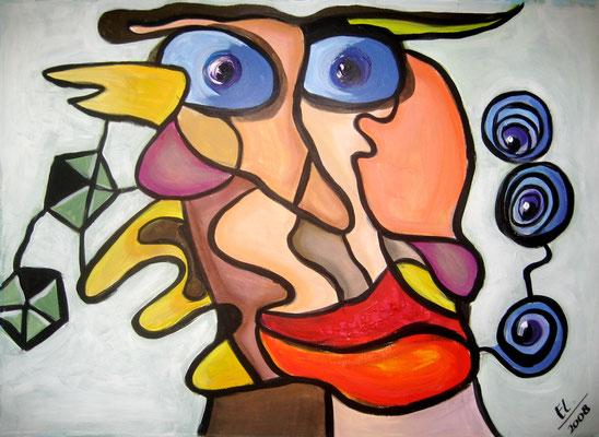 Staring Man - 50x70 - acryl op papier VERKOCHT