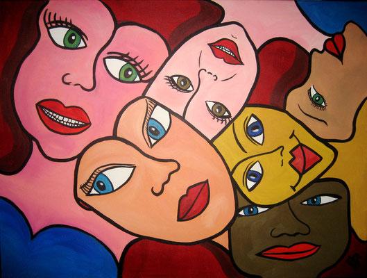 Many Faces - 60x80 - acryl op doek