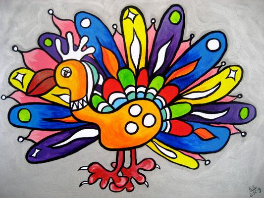 Bird - 50x70 - acryl op doek VERKOCHT