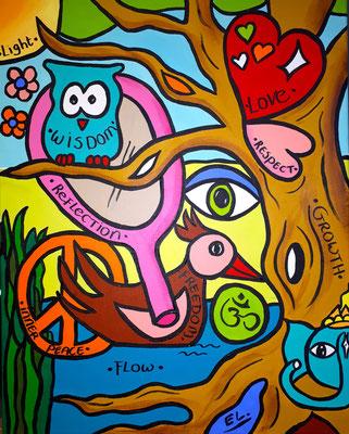 Schilderij en logo in opdracht van Anjali Yoga te Heiloo