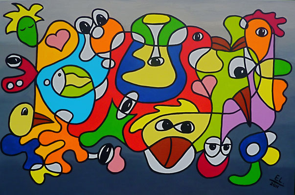 Be Nice They are Watching You - 80x120 - acryl op doek