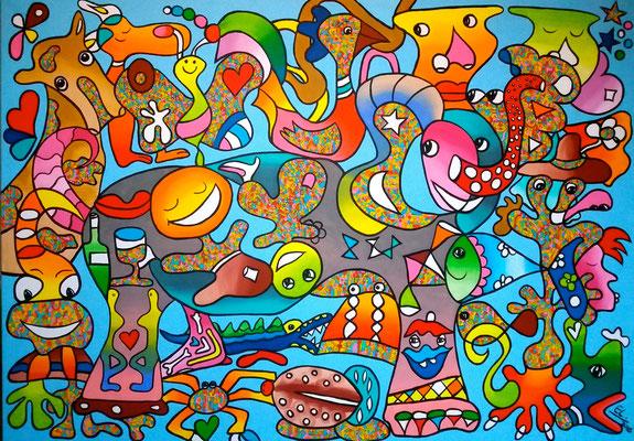 The World in Harmony - 100x120 - acryl op doek