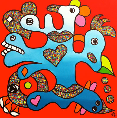 Love and Connect - 70x70 - acryl op doek