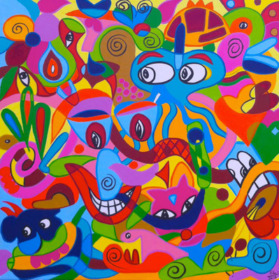 What Ever Make You Happy - 80x80 - acryl op doek