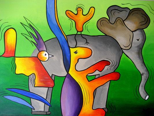 Zoo part 2 - 50x70 - acryl op doek