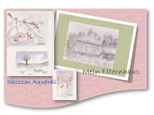Skizzen von Tieren und Landschaften Aquarell und Bleistift