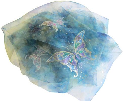 天女の羽衣 加賀友禅ショール 「蝶々」