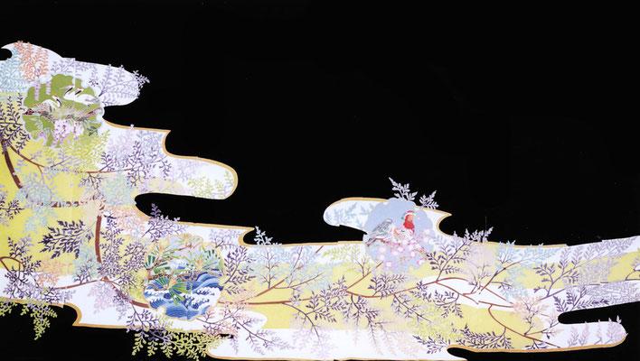 加賀友禅 黒留袖「ヒノキと雪輪」