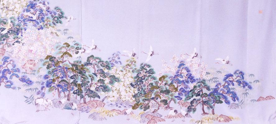 加賀友禅 色留袖 「群鶴」