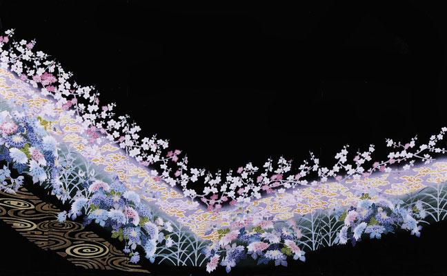加賀友禅 黒留袖「地水花風」