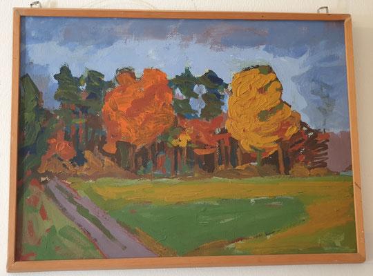 Herbstlandschaft am Natelsheideweg, Peter Greve, Öl auf Pappe