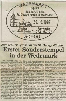 Ausschnitt aus dem Wedemark Echo vom 4. Juni 1997 (Sammlung Peter Schulze, Bissendorf)