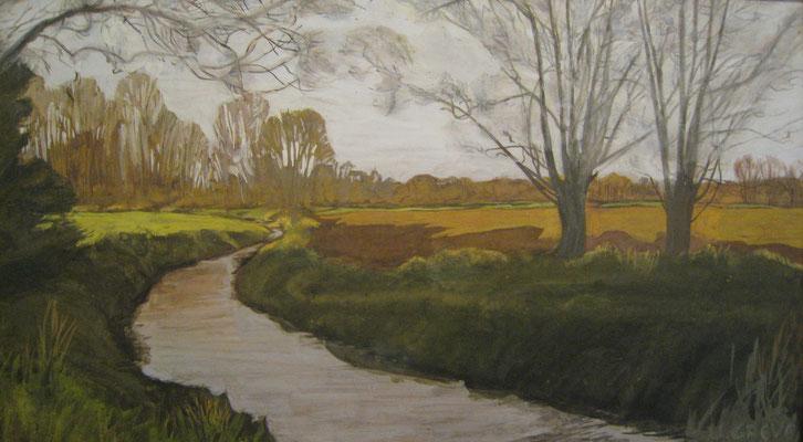 """""""Wietzekurve"""" in Bissendorf-Wietze, Natelsheidewweg / Storchenweg, 1996, gemalt von Ursula Greve"""