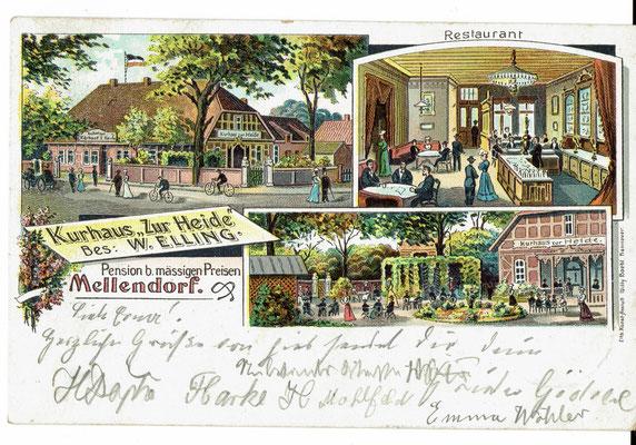 Postkarte von 1904, Kurhaus Zur Heide, Bes. W. Elling, Pension b. mässigen Preisen (aus der Sammlung von Peter Schulze, Bissendorf)