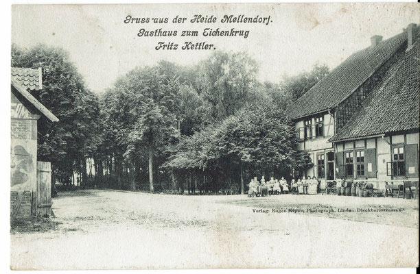 Postkarte 1905, Gasthaus zum Eichenkrug, Fritz Kettler (aus der Sammlung von Peter Schulze, Bissendorf)