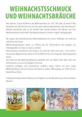 """Flyer zur Ausstellung """"Weihnachtsschmuck und Weihnachtsbräuche"""""""
