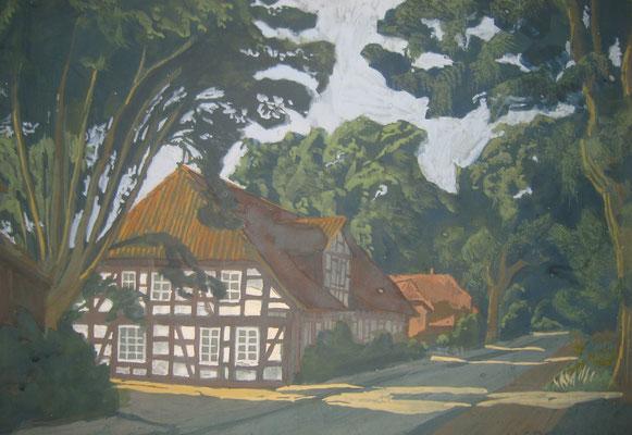 """""""Alter Amtskrug Bissendorf"""" gemalt von Ursula Greve, 1994 (Richard-Brandt-Heimatmuseum Wedemark)"""