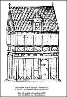 Zeichnung der ersten Bissendorfer Schule von 1603 (Entwurf von Diakon Helmut Neuber, 1987), Quelle: Hahn, Lüddecke, Bildchronik Bissendorf, Bd. 1, Bissendorf 2001