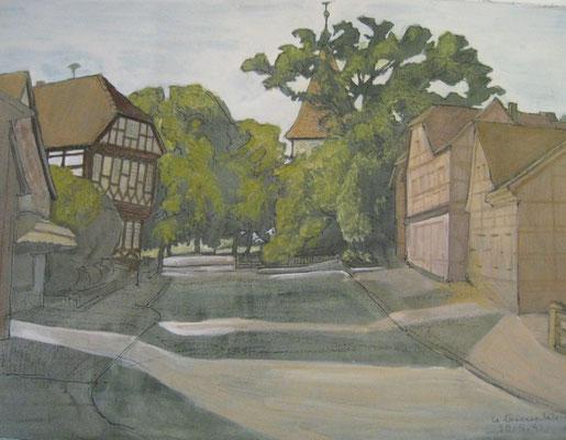 Amtshaus und St. Michaeliskirche in Bissendorf, 1992, gemalt von Ursula Greve