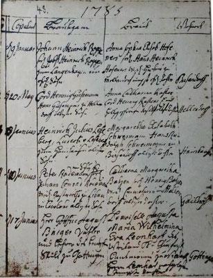 Kirchenbuchauszug der Hochzeit Bürgers mit Molly am 17. Juni 1785 in der St. Michaeliskirche in Bissendorf,  (c ) Richard-Brandt-Heimatmuseum Wedemark