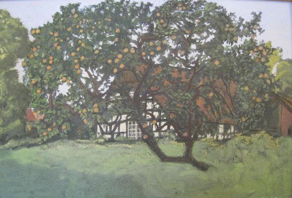 """""""Apfelbaum am Glockenweg in Bissendorf"""" gemalt von Ursula Greve, 1998 (Richard-Brandt-Heimatmuseum Wedemark)"""