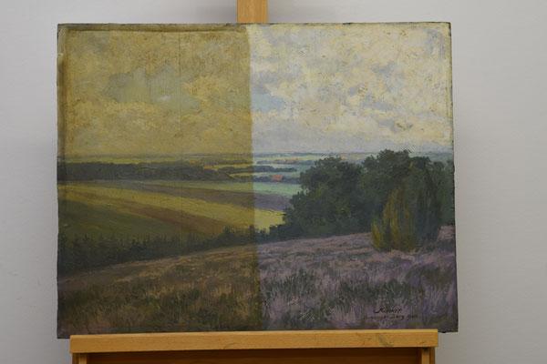 Gemälde Brelinger Berg während der Reinigung