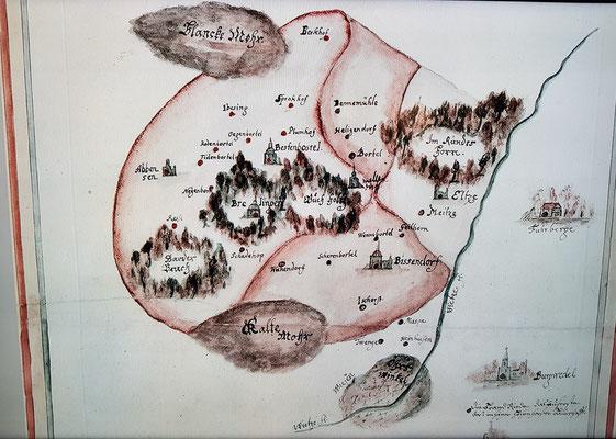 Karte der früheren Amtsvogtei Bissendorf