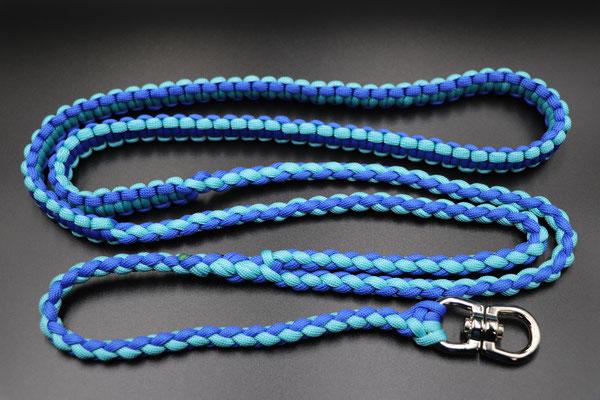 Yさんちの肩掛けベルト リードのレバーナスカンを使って接続するタイプ ターコイズ×ロイヤルブルー