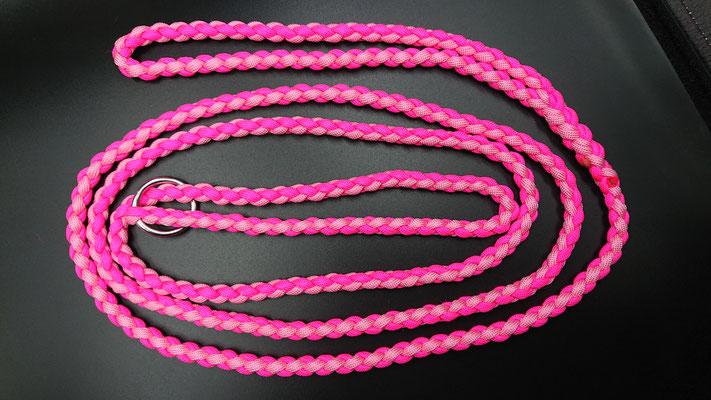 Nさんちのスリップリード ローズピンク×ネオンピンク ハーネスとして使用できるように120センチ長め
