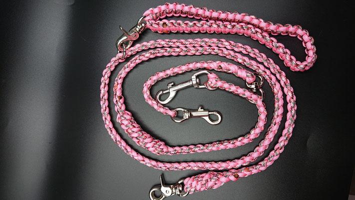 Mさんちのリード いのちさん仕様 肩掛けベルトへ接続タイプ ピンクカモ×ローズピンク
